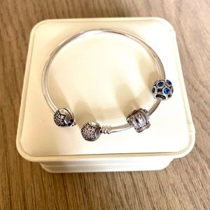 Pandora Star bangle bracelet - and 3 charms